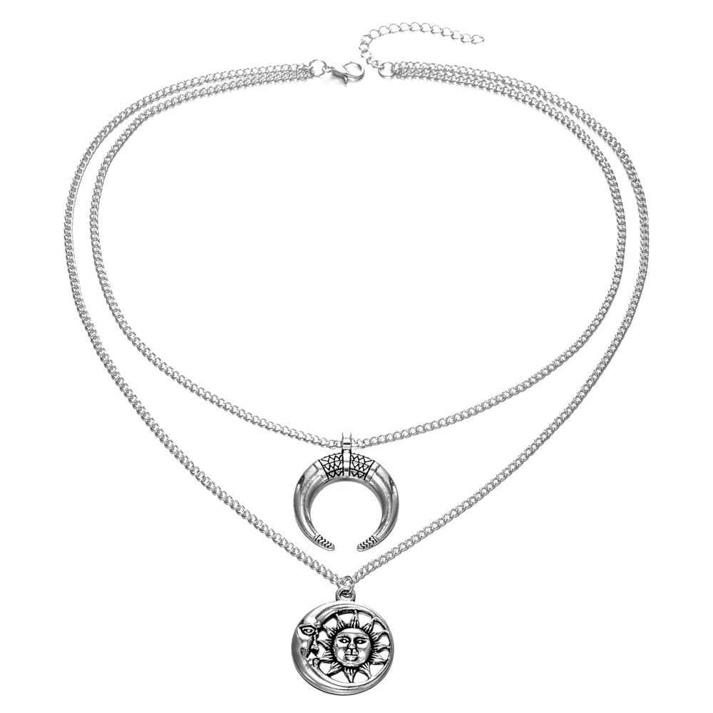 IPARAM винтажный многослойный металлический Бык Рог Луна солнце тату Чокеры Длинные ожерелья Бохо ручной работы ожерелье для женщин летние ювелирные изделия