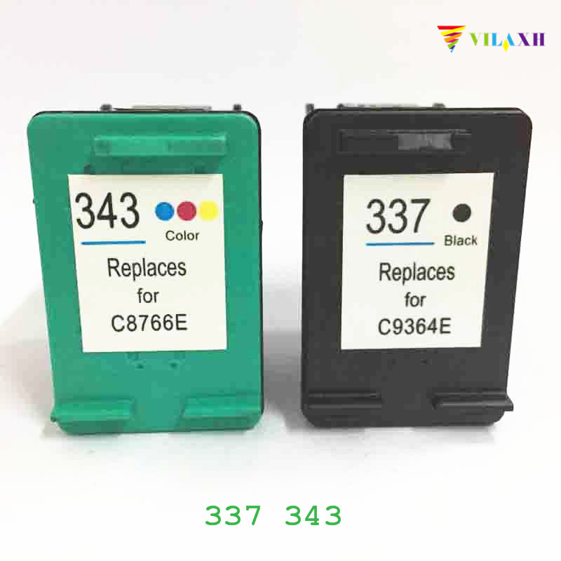 vilaxh 337 343 Compatibele inktcartridge Vervanging voor HP 337 343 voor Photosmart C4180 C4190 2575 Deskjet 6940 D4160 Printer