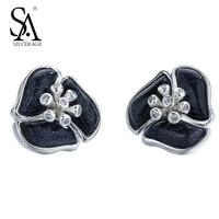 SA SILVERAGE Real 925 Sterling Silver Stud Earrings Hot Sale