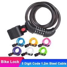 цена на 5 Digit Code Bike Lock 1.2m Anti-theft MTB Bicycle Chain Lock Motorcycle Cycling Steel Cable Security Password Combination Locks