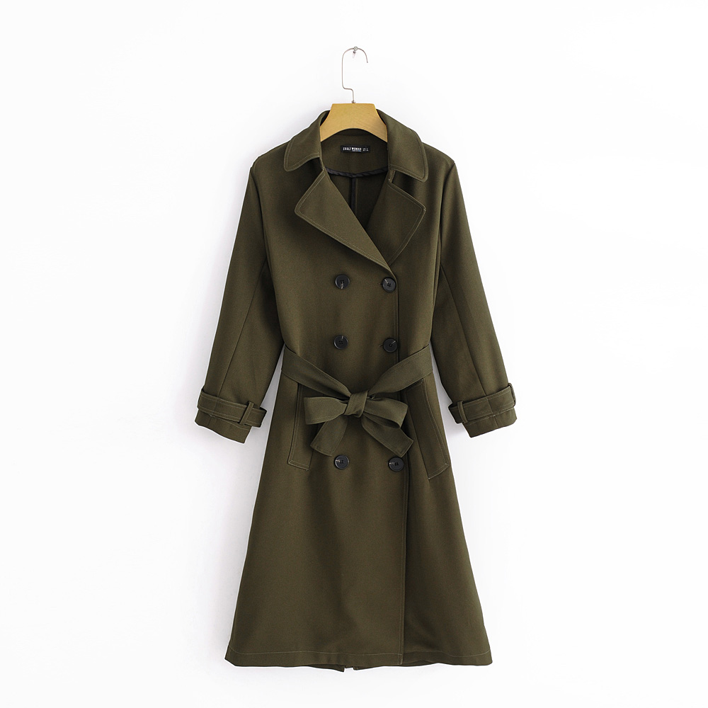Women Chic Casual Long   Trench   Fashion Sashes Design Olive Green Double Breasted Outwear Autumn New Temperament Trend Coat