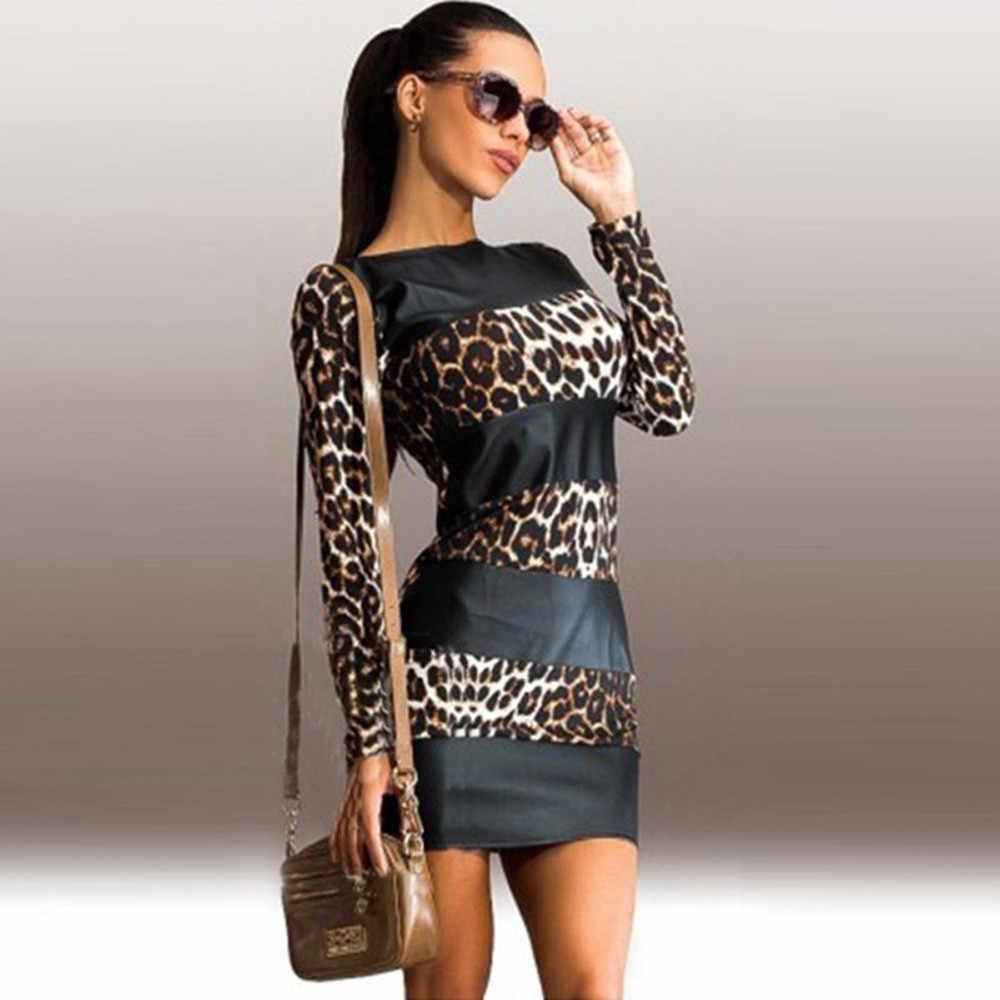 Kadın elbise seksi leopar baskı uzun kollu deri Splice kısa Mini parti elbise Vestidos De Festa moda leopar elbise
