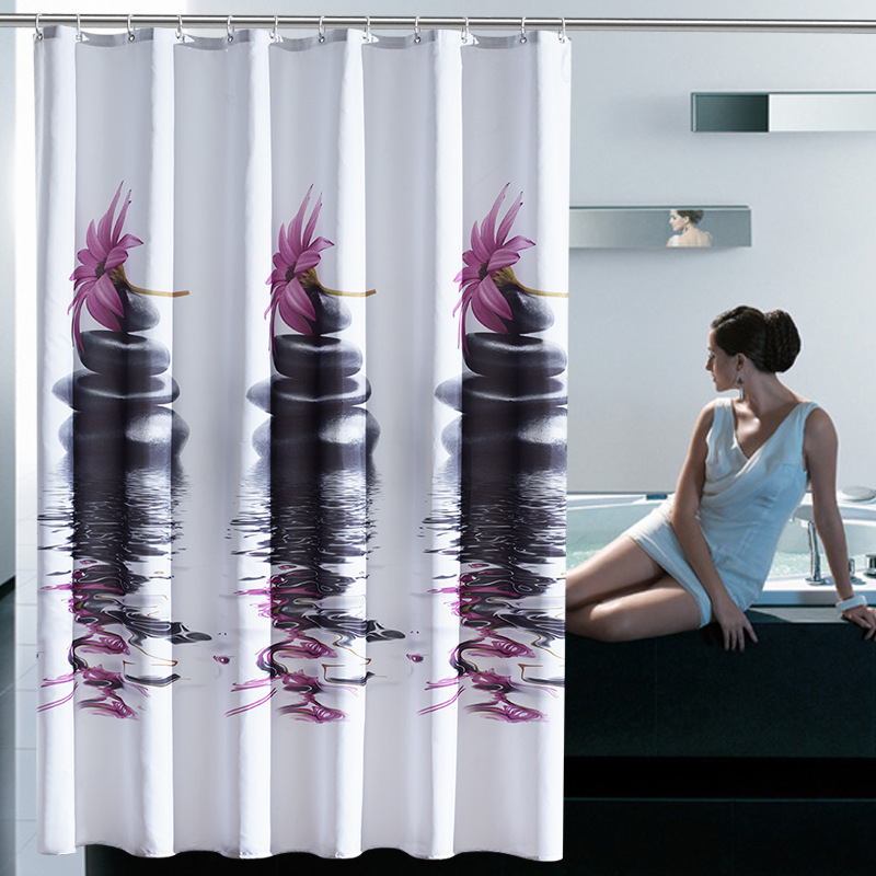 Waterproof Purple Stone Polyester Shower Curtain Bathroom Curtains Unique Free Shipping In From Home Garden On
