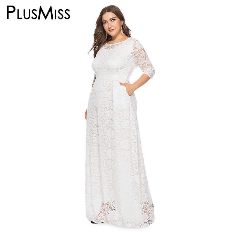 PlusMiss Plus Size 5XL XXXXL XXXL Black Red White Elegant Floor Length  Party Dresses Big Size ec1aea98c0b5