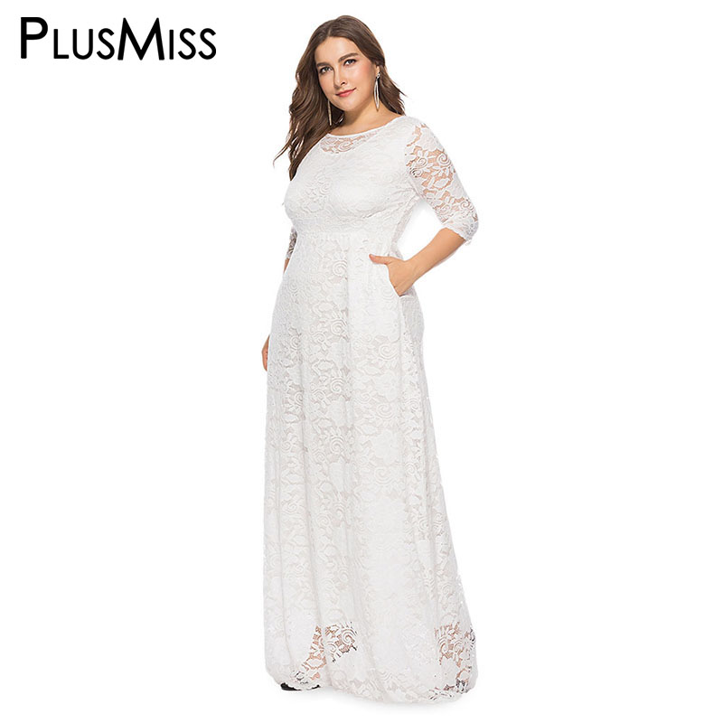 PlusMiss Plus Size 5XL XXXXL XXXL Black Red White Elegant Floor Length Party Dresses Big Size Vintage Maxi Long Dress Robe Femme