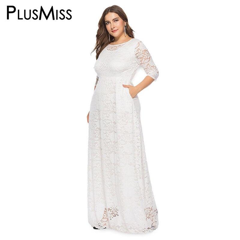 PlusMiss grande taille 5XL XXXXL XXXL noir rouge blanc dentelle élégante robes de soirée grande taille été Maxi longue Robe Robe Femme