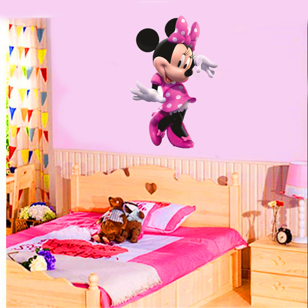 2018 new Cartoon baby minnie Wall Stickers for kids Rooms Decorative Wall Decals Removable wallpaper free shipping