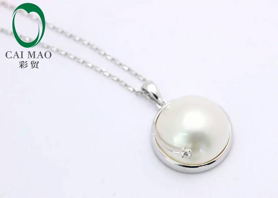 14k White Gold Round Mabe Pearl Classic Engagement Diamond Pendant Free shipping For Anniverary14k White Gold Round Mabe Pearl Classic Engagement Diamond Pendant Free shipping For Anniverary