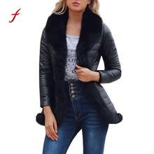 Winter Jacket Women Large Real Raccoon Fur Collar Leather Jacket Parka fashion straight loose luxurious outerwear dropshipping