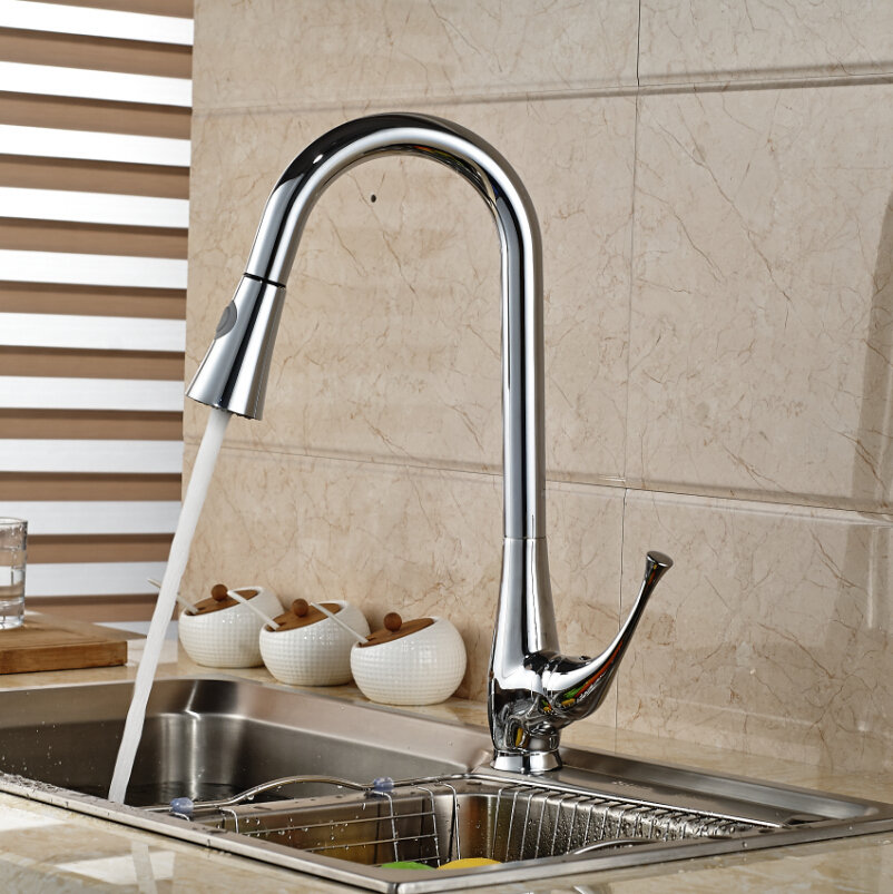 Single Handle Brass Pull Out Kitchen Sink Faucet Deck Mount Hot and Cold Water Kitchen Mixer Taps kitchen chrome plated brass faucet single handle pull out pull down sink mixer hot and cold tap modern design
