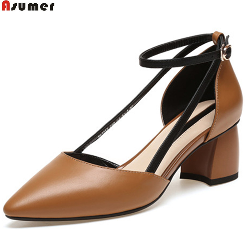 ASUMER fashion beige brown shoes woman pointed toe buckle square heel natural genuine Leather heel shoes casual high heels shoes asumer black 2018 fashion summer new shoes woman pointed toe mules shoes square heel low heels shoes genuine leather shoes