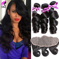 Best Peruvian Virgin Hair With Closure Ear To Ear Lace Frontal Closure With Bundles 3 Bundles Peruvian Loose Wave With Frontal