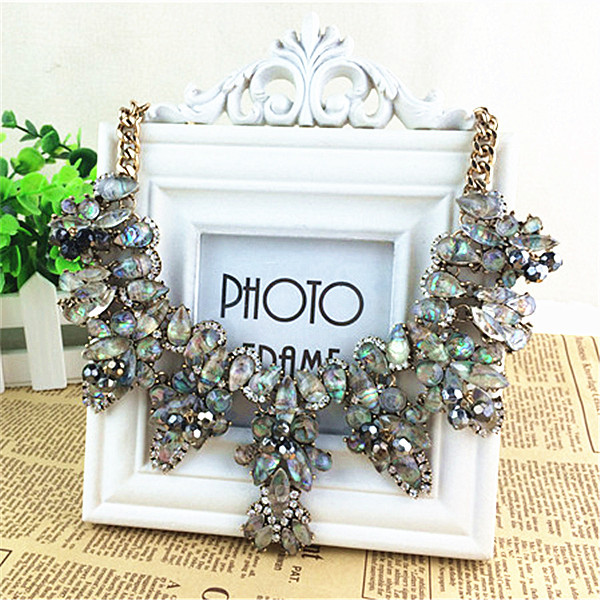New Brand Fashion Crystal Necklaces Pendants Costume Chunky Choker Flower Collar Necklace statement Luxury font b