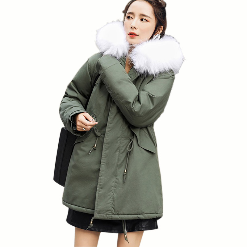 2017 new fashion women fur collar hooded coat warm Fox fur liner parkas long winter jacket top quality Female warm wadded jacket 2017 winter new clothes to overcome the coat of women in the long reed rabbit hair fur fur coat fox raccoon fur collar