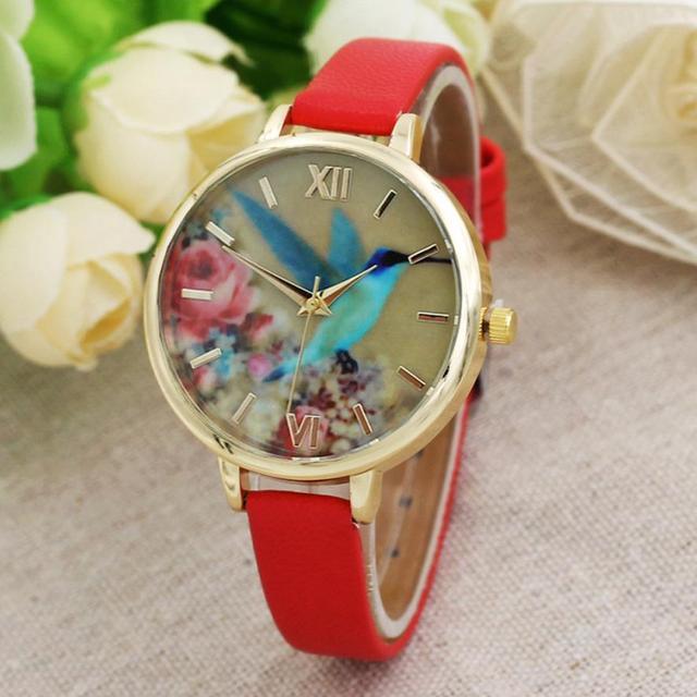 2017 New Blue Hummingbird Women Leather Band Analog Quartz Movement Wrist Watch Simple fashion watch #420717