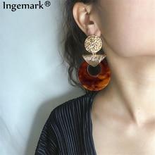 Ingemark Vintage Brown Big Dangle Earrings Personality Geometric Acrylic Acetic Acid Wild Style Water Drop for Women