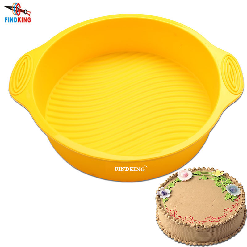 FINDKING 9 inch 28.5*24.5*6.2cm 175g DlY Round Shape 3D Silicone Cake Mold Baking Tools Bakeware  Easy Demoulding  Baking