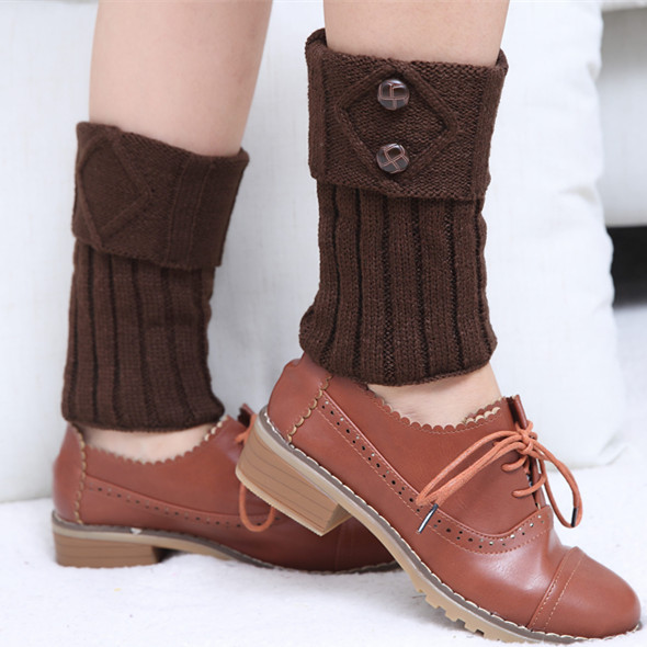 Fashion Winter New Short Rhombus Mouthpiece 2 Button Knitted Wool Socks Set Fashion Boots Cover Foot Cover