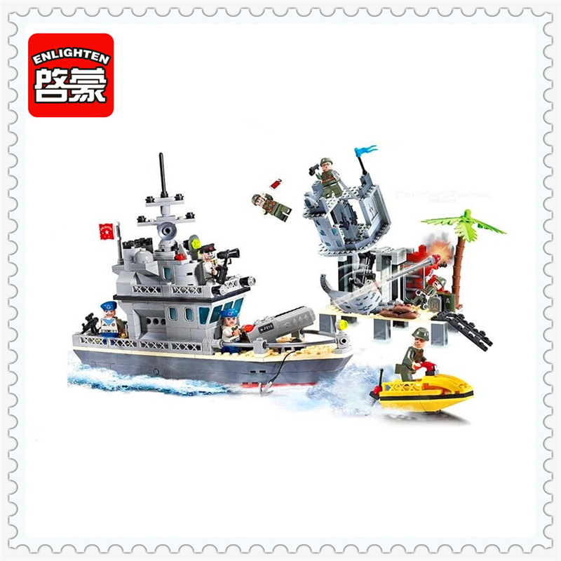 ENLIGHTEN 819 Military Outpost Combat Zones Model Building Block Compatible Legoe 505Pcs DIY   Toys For Children enlighten 1406 8 in 1 combat zones military army cars aircraft carrier weapon building blocks toys for children