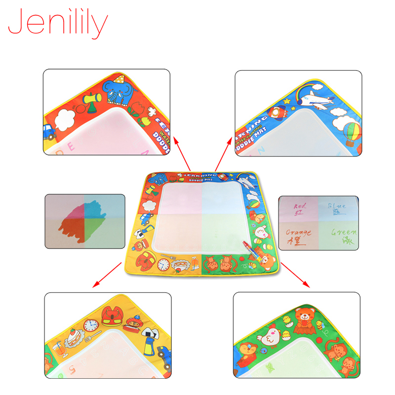 Jenilily 71*70cm Big Size Magic Doodle Water Mat with Water Drawing Pen Coloring P nting board gift for Children Kids