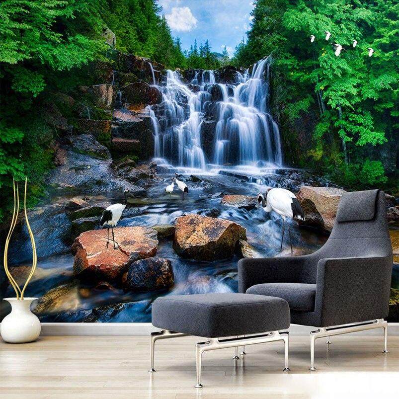 kustom cina wallpaper mural pemandangan alam air terjun batu crane