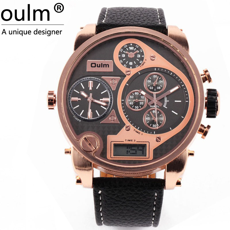 Big Face OULM 9316 Brand Japan Movt Quartz dz Watch Large Men Dual time Male Imported Reloj Hombre Relogio Masculino Original brand oulm 9316b japan movt big face watches men triple time rose gold luxury analog digital casual watch relogio male original