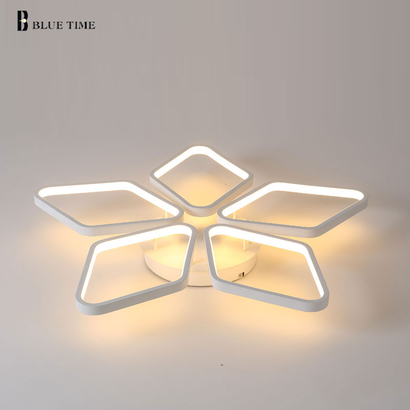 New Style White Ceiling Mounting Modern LED Chandelier For Living Room lustres de sala de Lamp Chandeliers Led Indoor Home Light tiffany mediterranean style peacock natural shell ceiling lights lustres night light led lamp floor bar home lighting