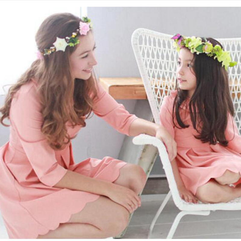 New Family Look Summer Mother Kids Family Matching Outfits Fashion Pink Yellow Mother Daughter Dresses Mommy