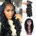 8A Peruvian Loose Wave Virgin Hair Extensions 3 Bundles With 360 Full Lace Frontal Closure 360 Frontal With Loose Wave Bundles
