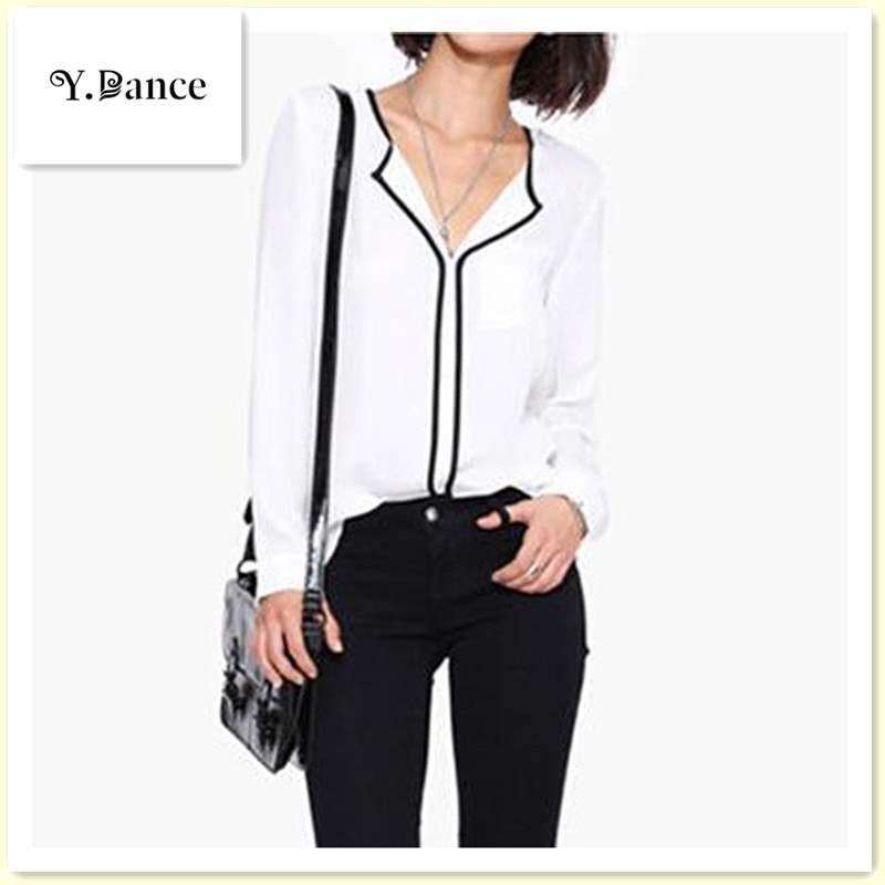 2017 Sell like hot cakes Style Fashion Womens Casual White Shirt Long Sleeve Black Side Chiffon Blouse V-neck Work Shirts Women