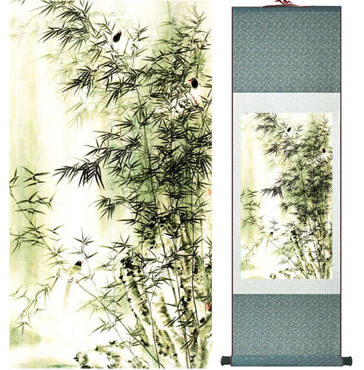 Bamboo painting Chiense characters and Flower  painting  Home Office Decoration Chinese scroll painting041110