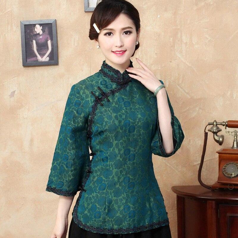 Tyr6020 Soie De Nouvelles Chemise Vers Traditionnel À Femmes Blusa Blouse Marque Mujer Tops Chinois Renoncule Camisa ASIqxwZq