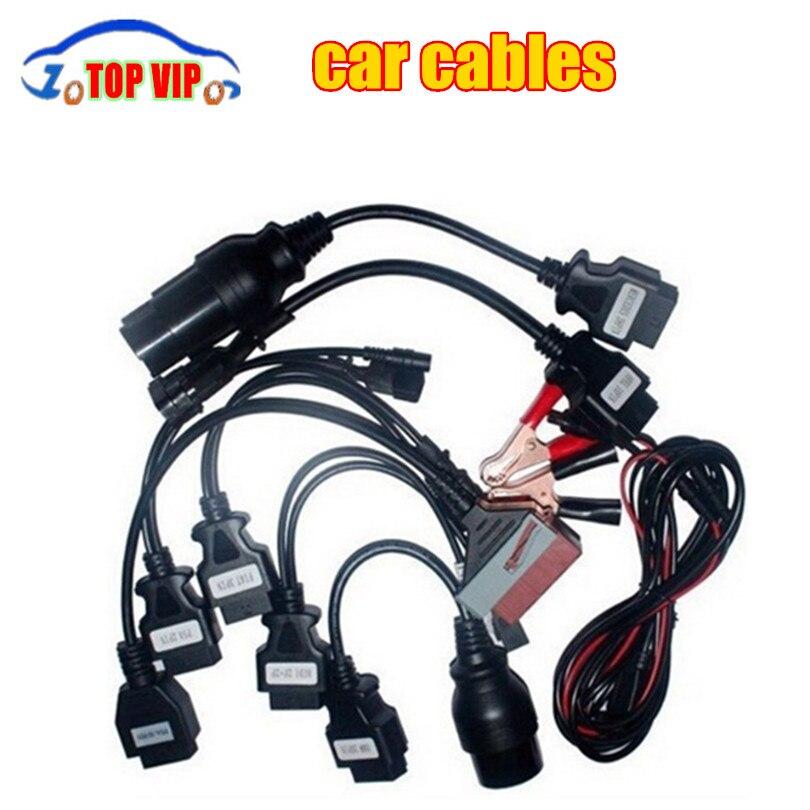Цена за Лучшая цена 10 шт./лот OBD/OBD2 CDP Автомобильный Кабель инструменту диагностики 8 шт. полный набор Адаптеры автомобилей TCS CDP PRO автомобильные кабели DHL Бесплатная