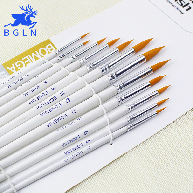 BGLN 12Pcs/set Round Tip Watercolor Paint Brush Different Size Nylon Hair Art Painting Brush For Drawing Supplies bgln 7pcs set mix hair nylon weasel hair professional watercolor paint brush watercolor painting brush stationery art supplies