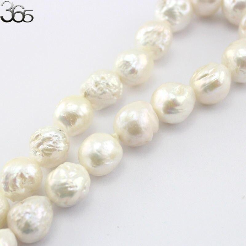 Livraison gratuite 13-15mm perles d'eau douce baroques presque rondes Edsion pour bijoux collier faisant Stand 15