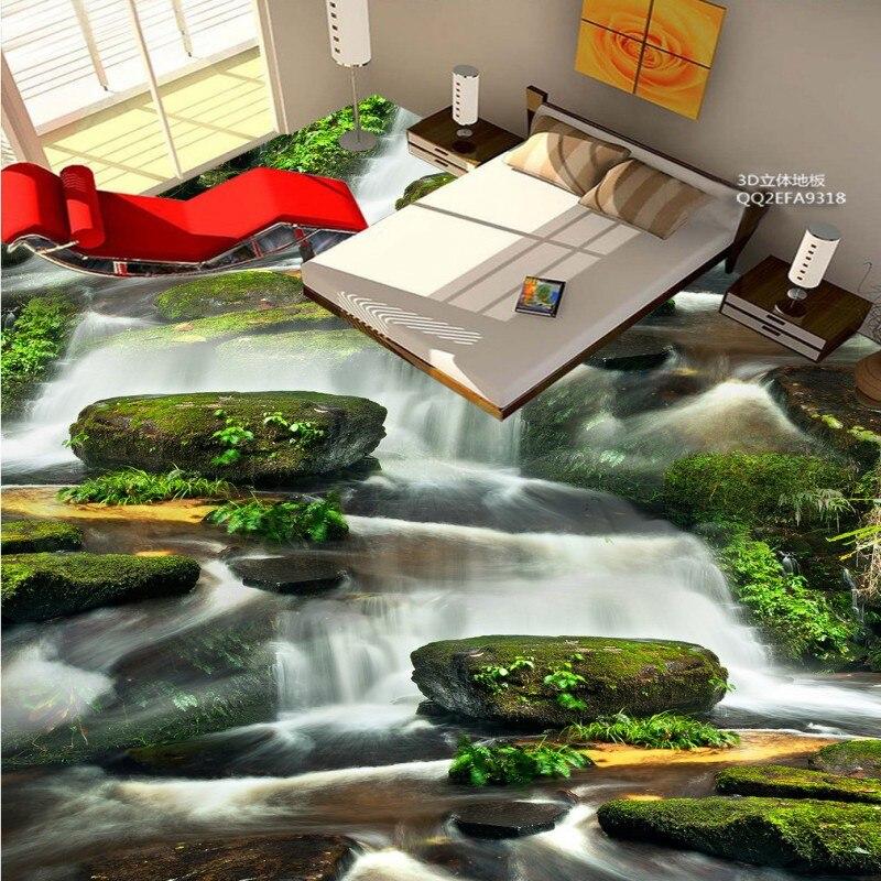 ФОТО Free Shipping non-slip flooring wallpaper 3D outdoor mountain stream landscape bathroom kitchen floor mural