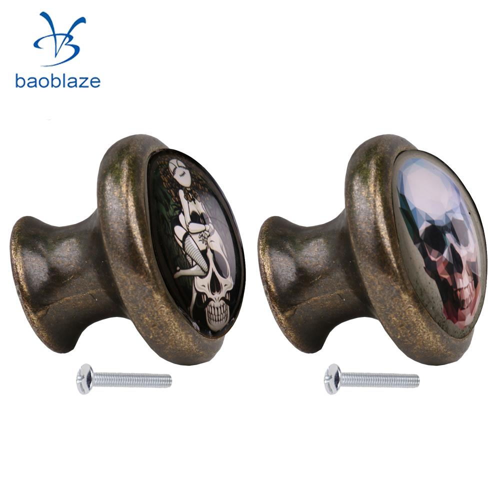 2pcs Skull Pattern Vintage Metal Door Knob Cupboard Cabinet Bin Drawer  Dresser Pulls Handle Knob Furniture