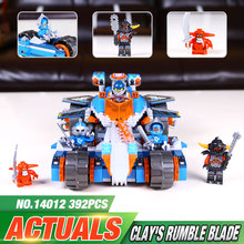 2016 New LEPIN 14012 392Pcs Nexus Knights Clay's Rumble Blade Jestro Clay Kits Minifigure Blocks Bricks Toys Compatible legeo