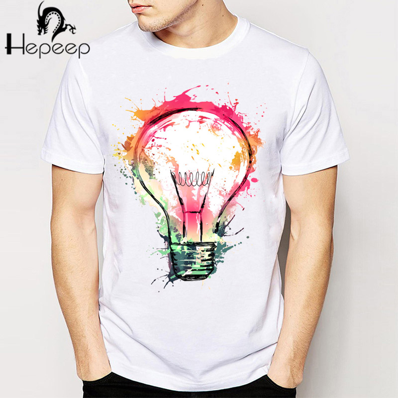 track shipnew rock punk men t shirt top tee splash ideas novelty fashion design bulb painting hipster o neck boy t shirt