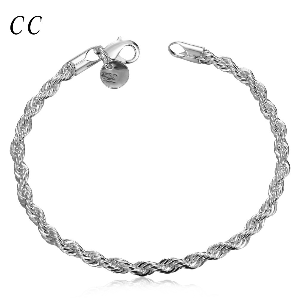 Cheap Flashing Twisted Rope Bracelets For Women Silver Plated Link Chain  For Femme Simple Casual Fashion