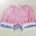 Mulheres Verão Assentamento Malha Shorts Lolita Irmã Macio Borda Arco Laço de Algodão Calções de Abóbora Rosa Azul