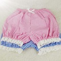 Women Summer Bottoming Lattice Shorts Lolita Soft Sister Bow Lace Edge Cotton Pumpkin Shorts Pink Blue