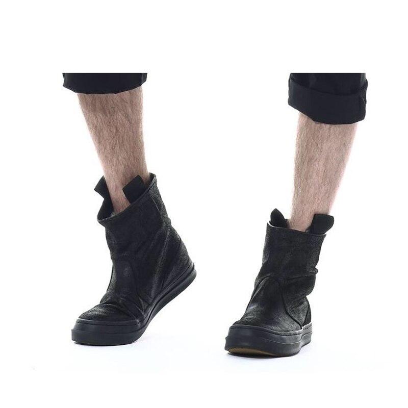 Célèbre marque décontracté noir haut haut large veau haut chaussures en daim de vache en cuir véritable bas chaussure plat Justin Bieber botte - 4
