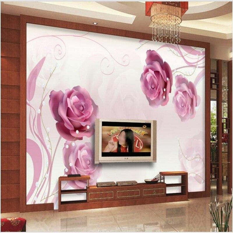 beibehang Custom large fresco living room rose reflection dream romantic fashion TV background wall non - woven wallpaper
