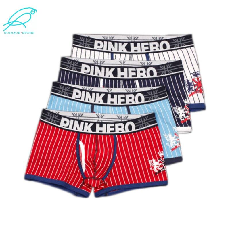 4pcs Lot Pink Hero Famous Mens Underwear Striped Man Boxers Cotton Underpants Plus Size XXL Men Shorts Wholesale 1237E