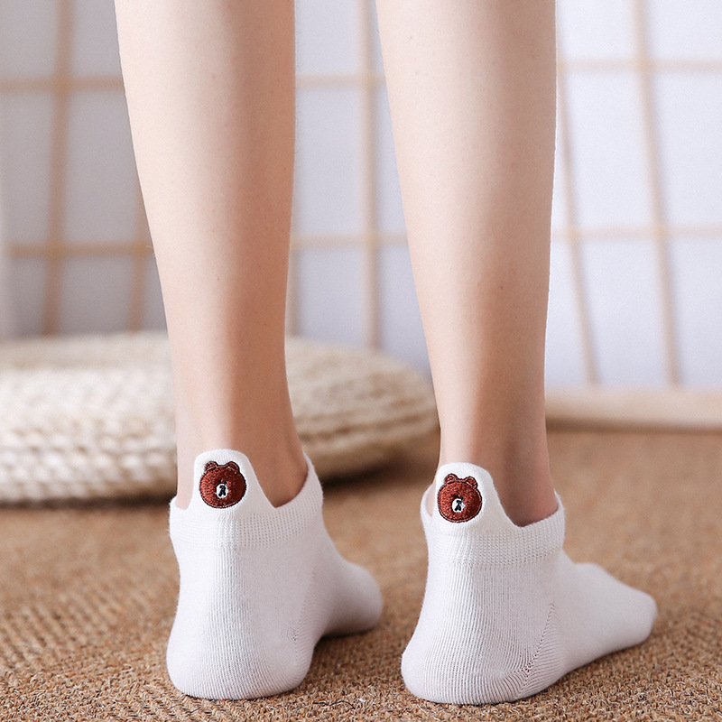 Fashion   Socks   Woman 2019 New Spring 1 Pair Ankle   Socks   Girls Cotton Color Novelty Women Fashion Cute Cartoon bear Casual   Socks