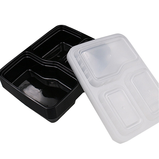 5/10 Pcs 3 Compartment Food Storage Containers With Lids Bento Lunchbox  Picnic Food Storage