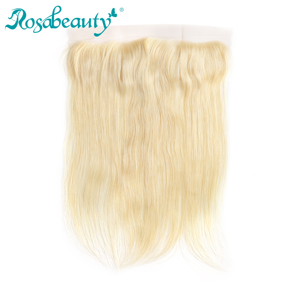 Rosa beauty Remy Hair 613 Blonde Lace Frontal Closure Brazilian Straight 13x4 Lace Pre-pluck with Baby Hair Colored Hair Closure image