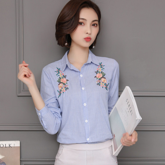 2018 New Spring Women Shirts Striped Full Sleeve Embroidered Vertical Blouse Shirt Red Blue 1820