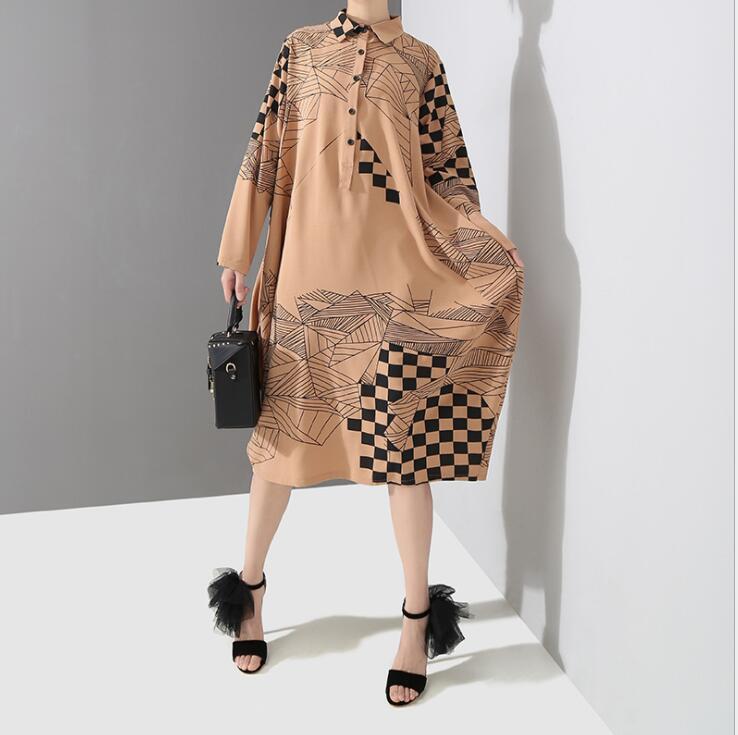 2019 Korean Style Midi Dress Robe Femme Khaki Loose Printed Shirt Dress Long Sleeve Long Sleeve Geometrical Plus Size